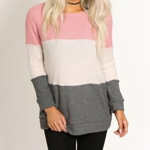 CY Fashion Color Block Thermal Waffle Tunic, Pink